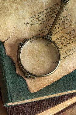 Jaroslaw Blaminsky MAGNIFYING GLASS WITH BOOKS AND POLISH WRITING Miscellaneous Objects