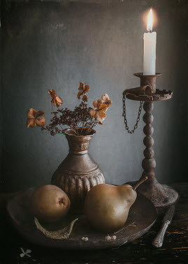 Magdalena Wasiczek STILL LIFE WITH CANDLE, PEARS. AND DRIED FLOWERS Miscellaneous Objects