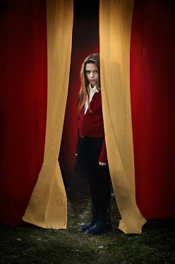 Robin Macmillan STARING YOUNG SCHOOLGIRL BEHIND CURTAINS Children