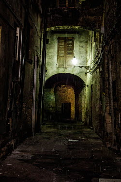 Yolande de Kort SPOOKY ALLEYWAY WITH RAIN AT NIGHT Streets/Alleys