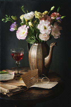 Magdalena Wasiczek LETTERS, GLASSES, WINE AND JUG WITH FLOWERS Miscellaneous Objects