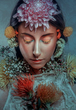 Rafael Sanchez Garcia WOMAN WITH EXOTIC FLOWERS Women