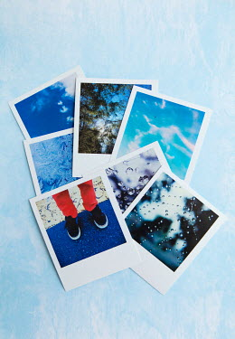 Isabelle Lafrance POLAROIDS ON LIGHT BLUE FABRIC Miscellaneous Objects
