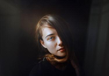 Rafael Sanchez Garcia YOUNG WOMAN WITH SUNLIGHT ON FACE Women