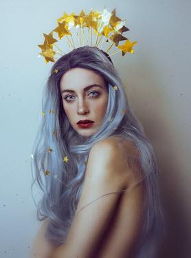 Lidia Vives Rodrigo WOMAN WITH PURPLE HAIR AND CROWN OF STARS Women
