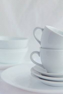Isabelle Lafrance WHITE CUPS AND SAUCERS ON PLATE Miscellaneous Objects