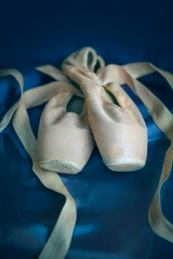 Jaroslaw Blaminsky BALLET SHOES ON BLUE SATIN Miscellaneous Objects