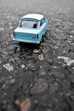 Valentino Sani RETRO BLUE TOY CAR ON ROAD Miscellaneous Objects