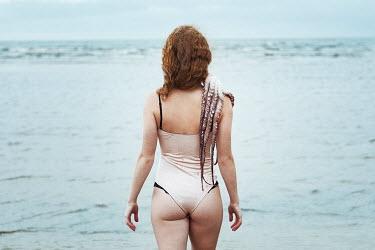 Alexandra Bochkareva WOMAN WITH OCTOPUS ON SHOULDER BY SEA Women