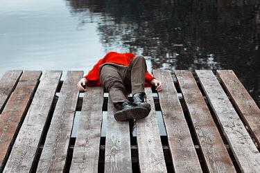 Alexandra Bochkareva DEAD GIRL LYING ON JETTY BY LAKE Women