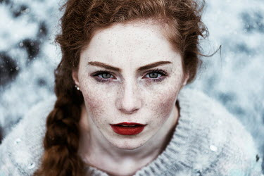 Alexandra Bochkareva WOMAN WITH RED HAIR IN SNOW Women