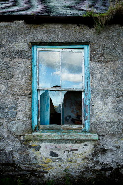 David Baker BROKEN WINDOW IN DERELICT HOUSE Building Detail