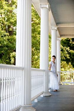 Joshua Sheldon WOMAN IN WHITE ON PORCH OF GRAND HOUSE Women