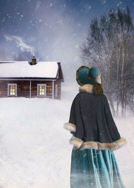 Sandra Cunningham HISTORICAL WOMAN WATCHING CABIN IN SNOW Women