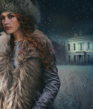 Sandra Cunningham WOMAN IN FUR BY HOUSE IN SNOW AT NIGHT Women