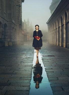 Mark Owen RETRO WOMAN WALKING IN FOGGY CITY Women