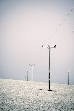 David Baker TELEGRAPH POLES AND WINDFARMS IN SNOW Snow/ Ice