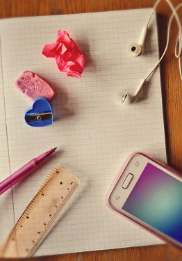 Lyn Randle STATIONERY AND PHONE ON NOTEBOOK Miscellaneous Objects