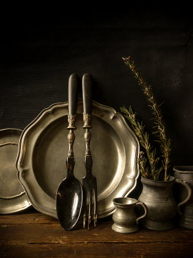 Jane Morley PEWTER CROCKERY AND CUTLERY WITH ROSEMARY Miscellaneous Objects