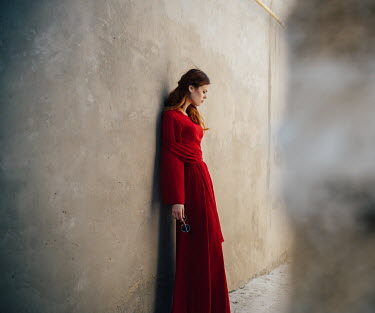 Dmitry Ageev WOMAN IN RED WITH SUNGLASSES BY WALL Women