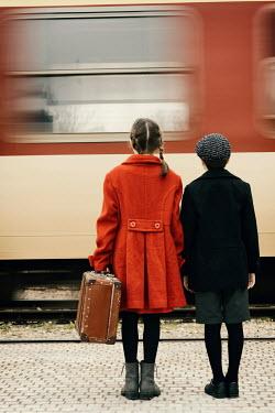 Krasimira Petrova Shishkova RETRO BOY AND GIRL WATCHING TRAIN Children