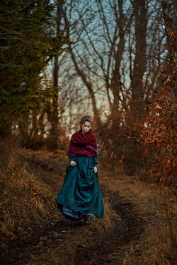 Monica Lazar HISTORICAL WOMAN WALKING ON WOODLAND PATH Women