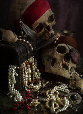 Jaroslaw Blaminsky Two pirate skulls and wooden chest filled with treasures Miscellaneous Objects