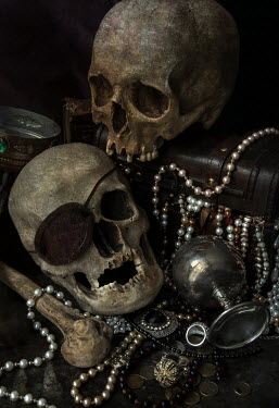 Jaroslaw Blaminsky Two skulls, bones and brown chest of treasures Miscellaneous Objects