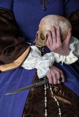 Jaroslaw Blaminsky HISTORIC WOMAN WITH SKULL AND DAGGER Women