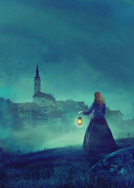 Drunaa HISTORICAL WOMAN AT NIGHT WITH LAMP Women