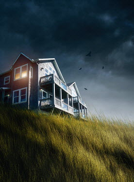 Sandra Cunningham BEACHSIDE HOUSE WITH BALCONIES Houses