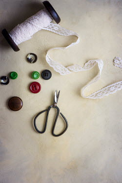 Galya Ivanova SPOOL OF LACE WITH BUTTONS AND SCISSORS Miscellaneous Objects