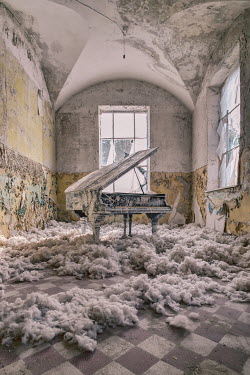 James Kerwin ABANDONED MUSIC ROOM WITH GRAND PIANO Interiors/Rooms