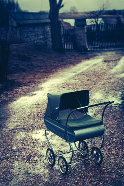 Magdalena Russocka ABANDONED VINTAGE PRAM ON COUNTRY ROAD Miscellaneous Objects