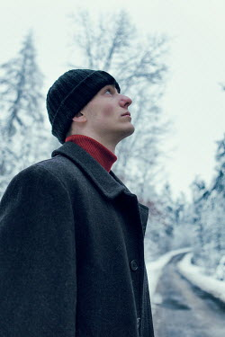 Magdalena Russocka YOUNG MAN ON COUNTRY PATH IN WINTER Men