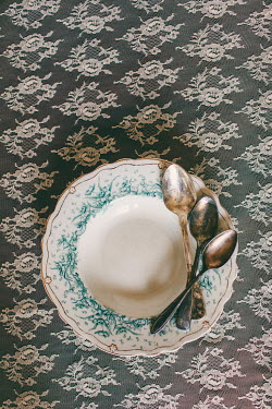 Susan O'Connor VINTAGE BOWL AND SPOONS ON LACE Miscellaneous Objects