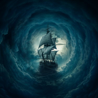 Zoltan Toth OLD SHIP FLOATING IN CIRCLES OF CLOUD Boats