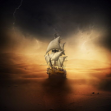 Zoltan Toth OLD SHIP IN DESERT WITH LIGHTNING Boats