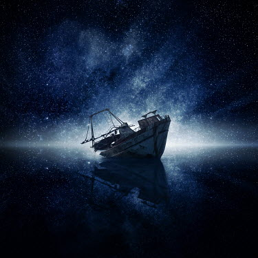 Zoltan Toth ABANDONED BOAT WITH STARRY SKY Boats