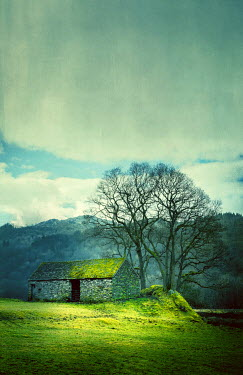 Svetlana Sewell OLD STONE BARN WITH HILLS IN WINTER Miscellaneous Buildings