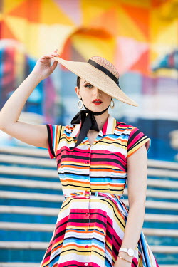 Maja Topcagic WOMAN IN HAT AND STRIPED DRESS Women