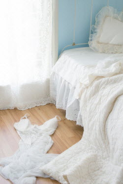 Eleanor Caputo WHITE BED WITH LACE CURTAIN AND NIGHTDRESS Interiors/Rooms