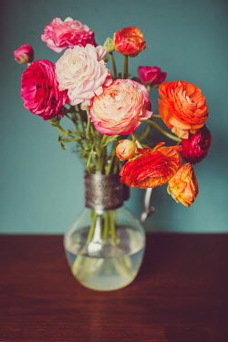 Susan O'Connor PINK AND ORANGE FLOWERS IN GLASS VASE Flowers
