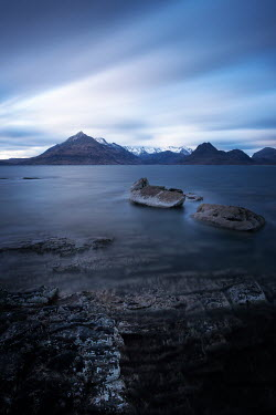 Ollie Taylor LAKE WITH SNOWY MOUNTAINS AT DUSK Seascapes/Beaches