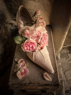 Jane Morley WHITE LADIES SHOE WITH PINK ROSES Miscellaneous Objects