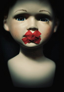 Lyn Randle CHINA DOLL WITH RED TAPE OVER MOUTH Miscellaneous Objects