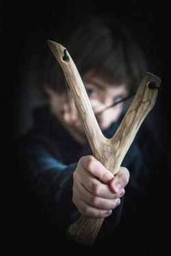 Des Panteva YOUNG BOY WITH SLINGSHOT Children