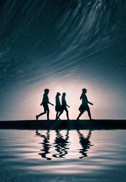 Elisabeth Ansley FOUR WOMEN WALKING BY LAKE Women
