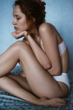 Tatiana Mertsalova YOUNG WOMAN SAT IN UNDERWEAR Women