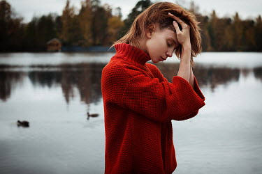 Alexandra Bochkareva WOMAN IN RED SWEATER BY LAKE Women